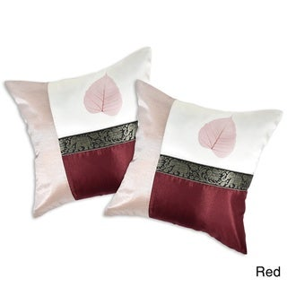 Elephant Stripe Leaf Silk Throw Pillow Cushion Cover Set (Thailand)