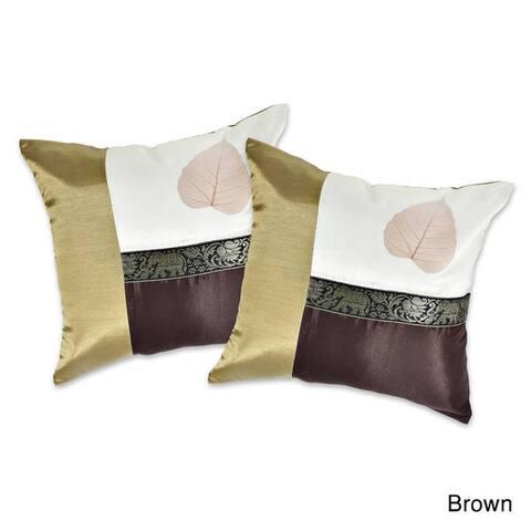 Handmade Elephant Stripe Leaf Silk Throw Pillow Cushion Cover Set (Thailand)