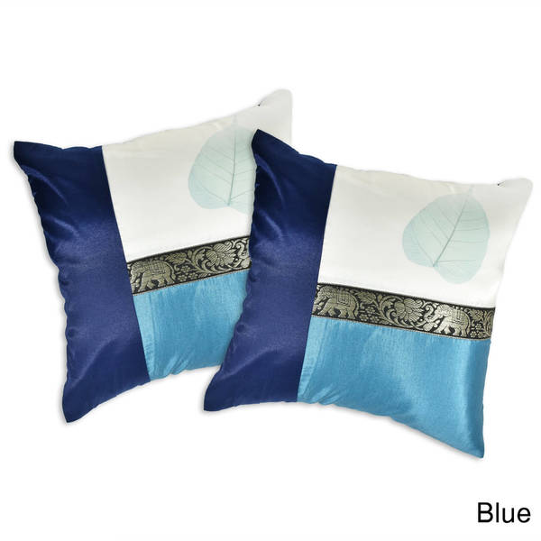 Handmade Elephant Stripe Leaf Silk Throw Pillow Cushion Cover Set (Thailand). Opens flyout.