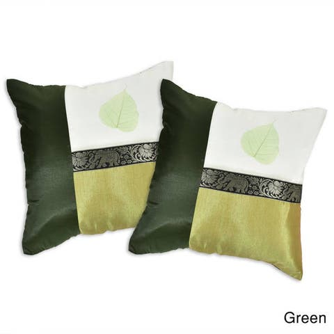 Handmade Elephant Stripe Leaf Silk Throw Pillow Cushion Cover Set (Thailand)