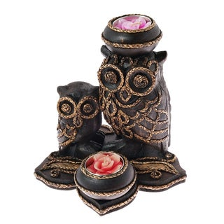 Handmade Adorable Mother and Baby Owl Wood Tealight Candle Holder (Thailand)