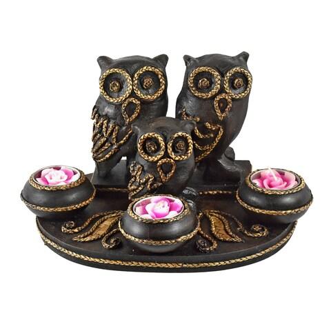 Handmade Lovable Owls Family Rain Tree Wooden Tealight Candle Holder (Thailand)