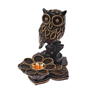 Hollow Owl in the Garden Carved Rain Tree Candle Holder (Thailand)