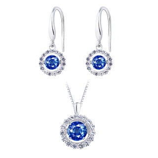 Lab Created Blue Sapphire Dancing Stone Silver Earring and Pendant Set