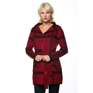 High Secret Women's Red Cashmere Wool Houndstooth Knit Pocketed Cardigan