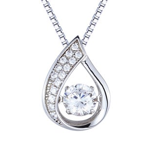 Created White Sapphire Dancing Stone Silver Pendant