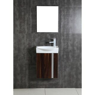 Fine Fixtures Compacto Black Walnut Wall Mount Single Bathroom Vanity with Vitreous China Sink and Mirror