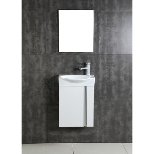 Fine Fixtures Compacto White Wall Mount Single Bathroom Vanity with Vitreous China Sink and Mirror