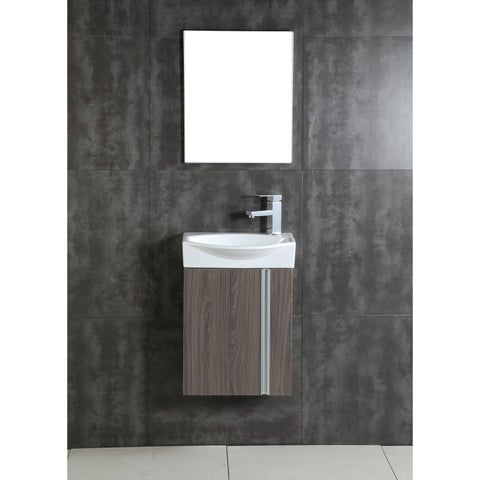 Fine Fixtures Compacto Grey Taupe Wall Mount Single Bathroom Vanity with Vitreous China Sink and Mirror
