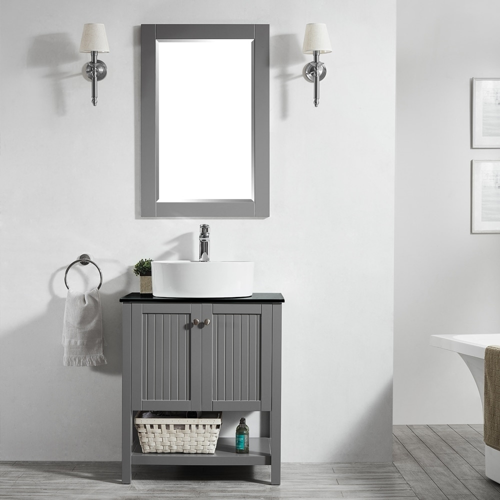 Modena 28-inch Vanity in Grey with Glass Countertop (28,grey)