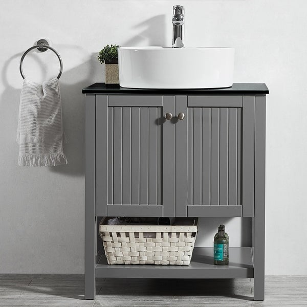 Modena 28-inch Vanity in Grey with Glass Countertop