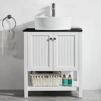 Modena 28-inch Vanity in White with Glass Countertop