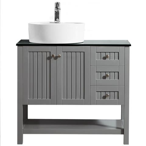 Modena 36-inch Vanity in Grey with Glass Countertop