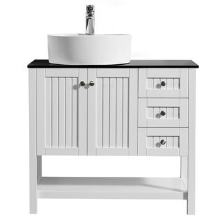 Modena 36-inch Vanity in White with Glass Countertop