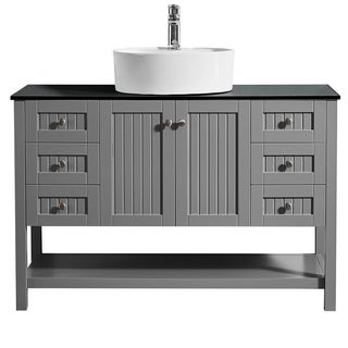 Modena 48-inch Vanity in Grey with Glass Countertop