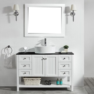 Modena 48-inch Vanity in White with Glass Countertop