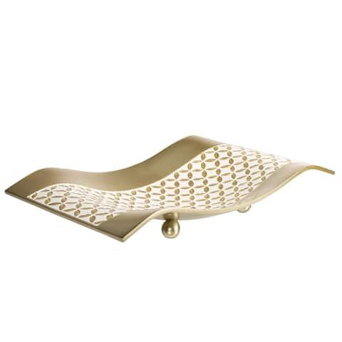 Creative Scents White and Gold Resin Lattice Centerpiece Dish