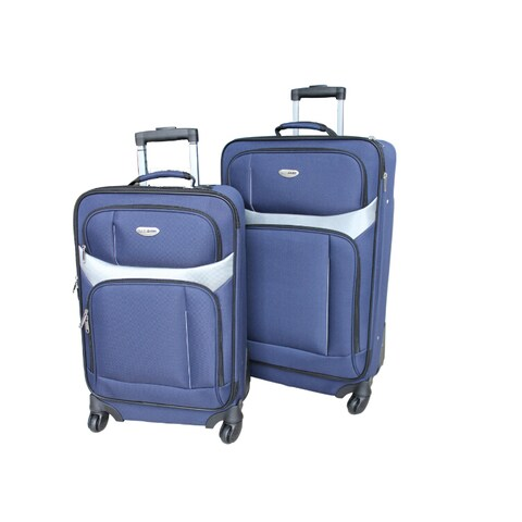 Milano 2-piece Two-Tone Blue Spinner Luggage Set