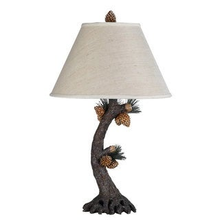 Brown Resin and Off-white Shade 150-watt 3-way Pinecone Table Lamp