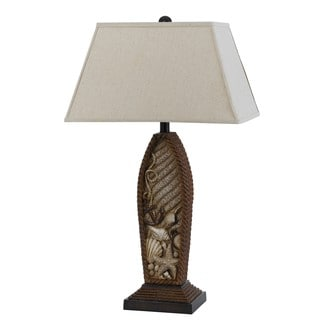 Pompano Off-white and Brown Resin 150-watt Table Lamp