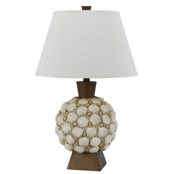 Seashell Off-white Resin 150-watt Table Lamp
