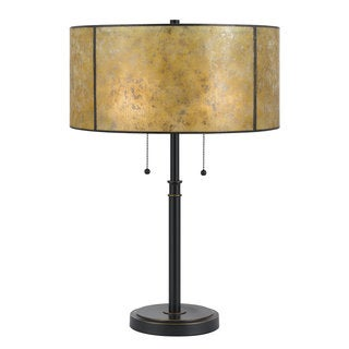Mica Bronze-finished Metal 60-watt 2-light Table Lamp With Gold Round Shade