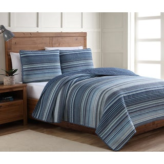 American Home Fashion Estate Taj Blue Quilt Set