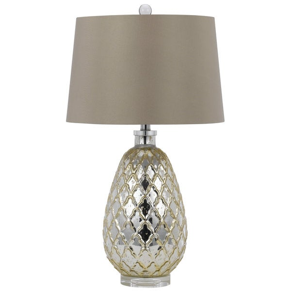Gold-finished Ceramic 150-watt Table Lamp With Round Shade