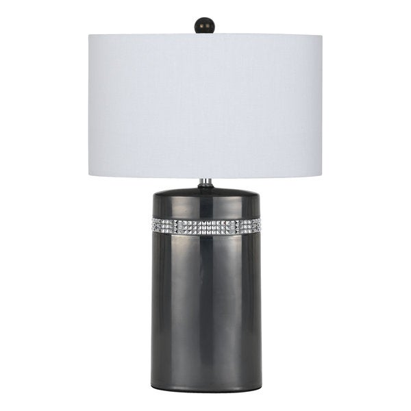 Grey Ceramic 150-watt Table Lamp with Off-white Shade