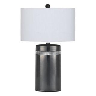 Grey Ceramic 150-watt Table Lamp with Off-white Shade