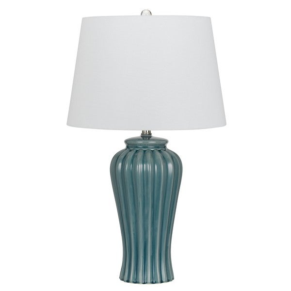 Eunice 150-watt Blue and White Ceramic Traditional Table Lamp