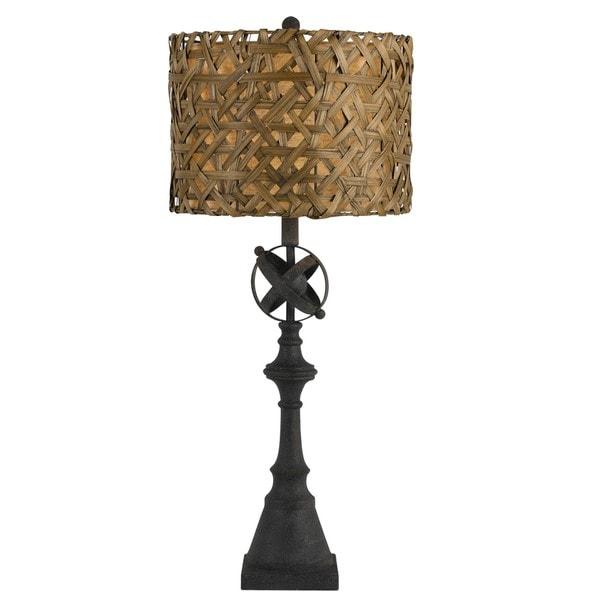 Deming Woven Shade Black Metal 150-Watt Buffett Lamp