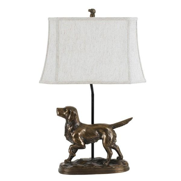 Bronze Resin 150-watt Golden Retriever Lamp
