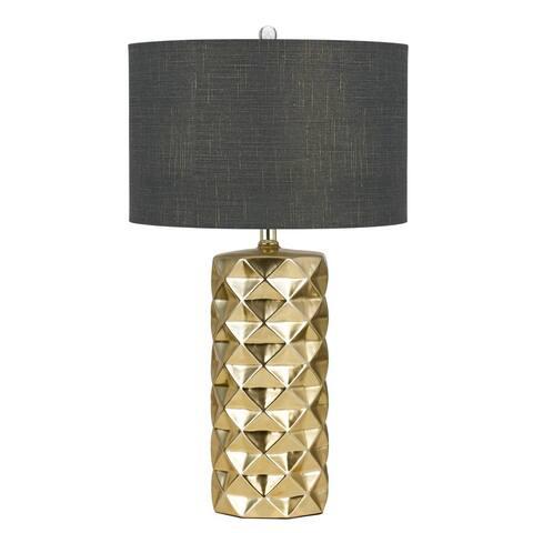 Higley 150-watt Gold and Grey Ceramic Round Table Lamp
