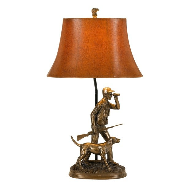 Bronze-colored Resin Hunter-themed Decorative Table Lamp