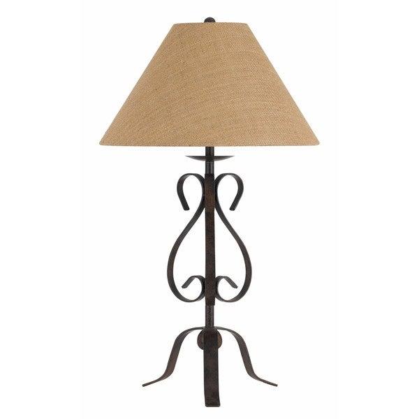 Ekalaka 150-watt 3-way Wrought Iron Table Lamp With Burlap Shade