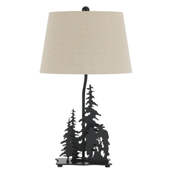 Cowboy Bronze Metal 150-watt 3-way Table Lamp with White Shade