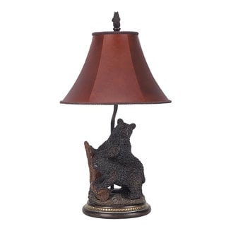 Brown Resin and Red Shade 100-watt Bear Table Lamp