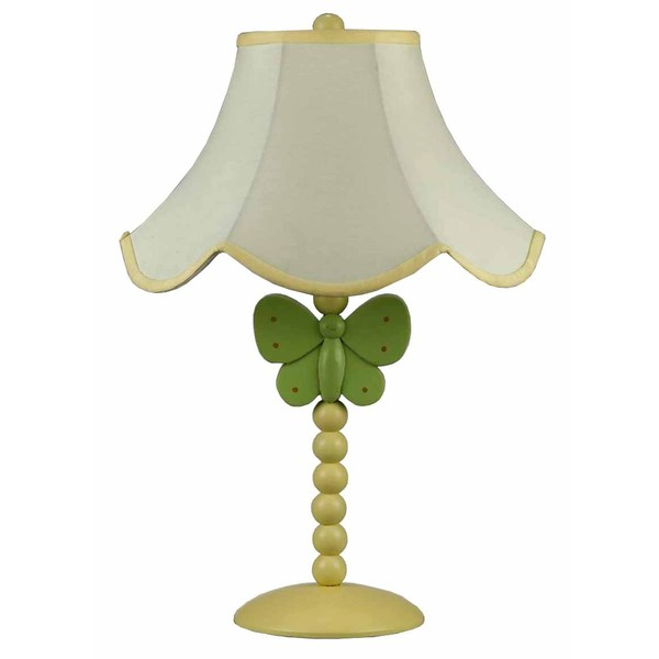 Butterfly White, Green, and Yellow Resin 60-watt Table Lamp