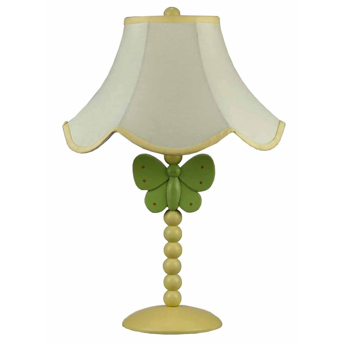 Butterfly White, Green, and Yellow Resin 60-watt Table La...