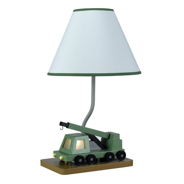 Boom Crane Truck Green Resin 60-watt Table Lamp