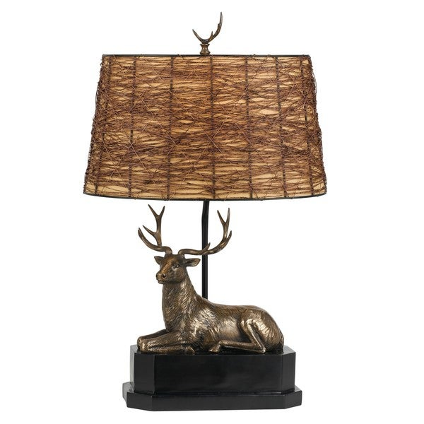 Brown Resin 100-watt Deer Table Lamp