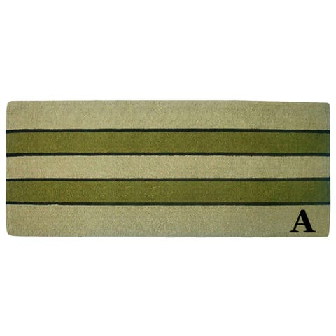 Pistachio Heavy-duty Coir Monogrammed Mat 24-inch x 57-inch
