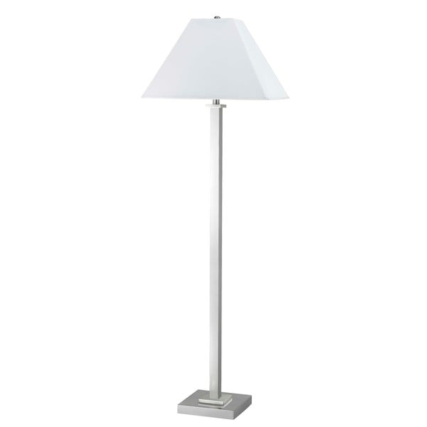 White/Silvertone Metal Contemporary Floor Lamp