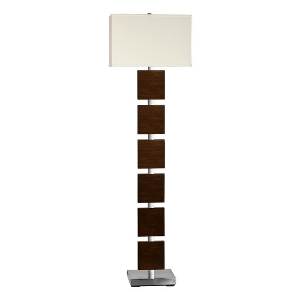 Brushed Metal Wood Panel Floor Lamp