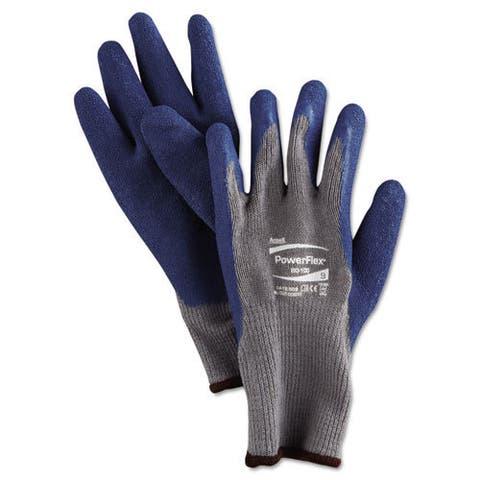 AnsellPro PowerFlex Gloves, Blue/Gray, Size 9