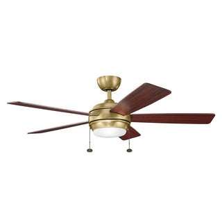 Kichler Lighting Starkk Collection 52-inch Natural Brass Ceiling Fan w/Light - natural brass