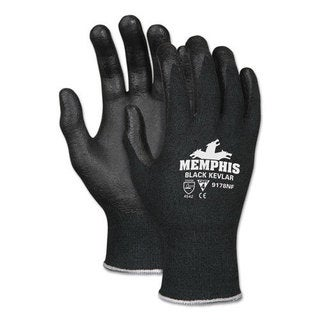 Memphis Kevlar Gloves 9178NF, Kevlar/Nitrile Foam, Black, Large