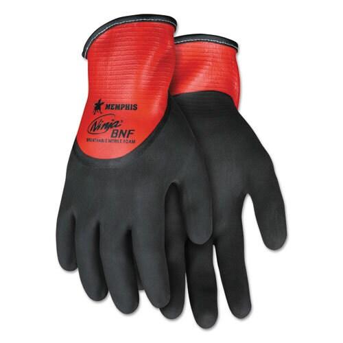 Memphis Ninja N96785 Full Nitrile Dip BNF Gloves, Red/Black, X-Large, 1 Dozen