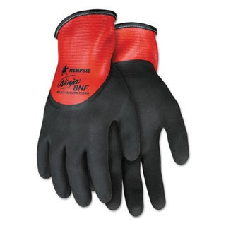 Memphis Ninja N96785 Full Nitrile Dip BNF Gloves, Red/Black, X-Large, 1 Dozen